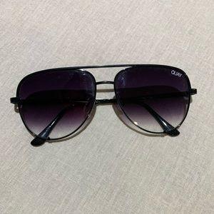 QUAY Australia High Key Black Aviator Sunglasses